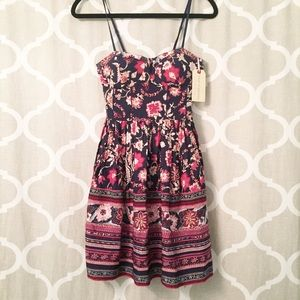 Band of Gypsies navy and red floral mini dress (S)